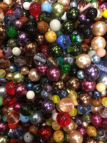 Medium Beads Assorted Glass (Half-pound Round Glass Beads, Assorted Colors, 6-10mm, Bulk Lot)