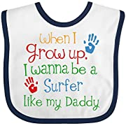 Inktastic - Surfer like Daddy Childs Surfing Baby Bib White/Navy