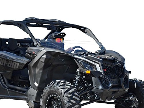 SuperATV Can-Am Maverick X3 900/Turbo/X RC/X RS/X DS/X MR/MAX Heavy Duty Half Windshield (2017+) - Clear Scratch Resistant Polycarbonate