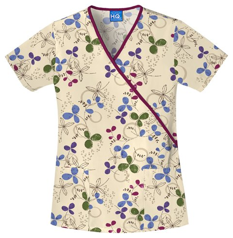 (Scrub H.Q. by Cherokee Women's Mock Wrap Floral Print Scrub Top Small Print)