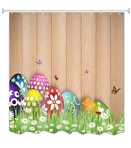 A.Monamour Wooden Floor Easter Eggs in Green Grass Butterfly Holiday Theme Print Waterproof Fabric Polyester Shower Curtain with Rust Proof Grommets and Hooks 150X180 cm / 60