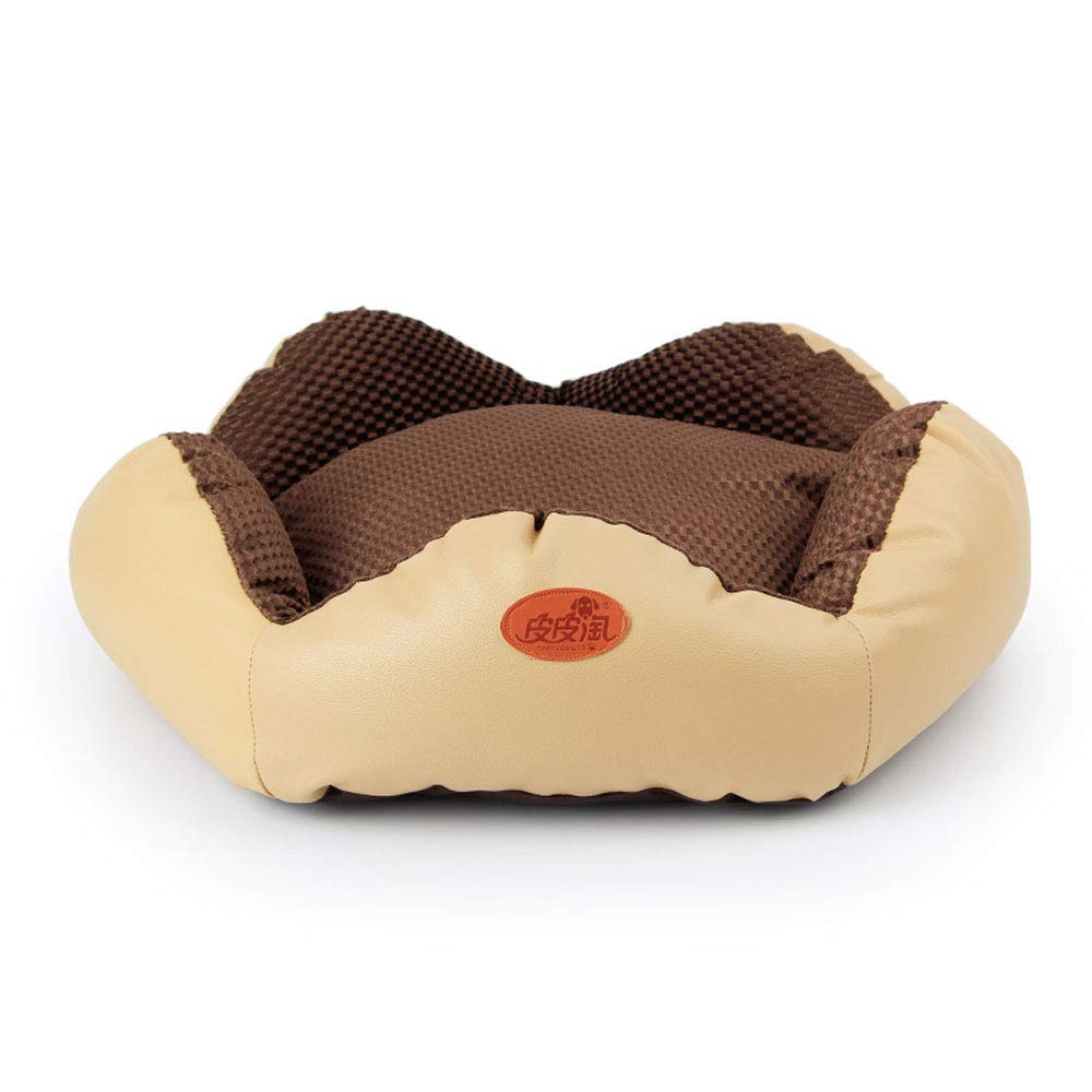 BROWN AXIANQI Pet Nest Pentagonal Imitation PU Leather With Pillow Kennel 58  19cm A (color   BROWN)