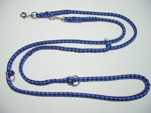 Hundeleine Doppelleine 2,80m 4fach verstellbar schwarz-blau