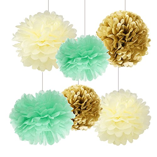 Baby Shower Mint Favor (12pcs Mint Cream Gold Tissue Paper Pom Pom Paper Flowers Birthday Table Decorations Decoration Tissue Ball Paper Decoration for Baby Shower Nursery Decor Party Favors Mint Bridal)