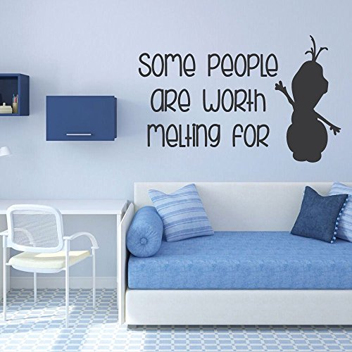 Disney Frozen Olaf Vinyl Wall Art Decal Sticker - Some People Are Worth Melting For - Home, Classroom, Library, or Child Care Center Decor, Best Friend (Disney Characters Male)