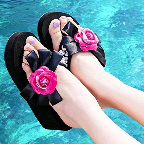 ZYUSHIZ Ding ziehen Sandalen Hausschuhe Sommer Frau Outdoor Beach Freizeitaktivitäten Wasserdichte, 39EU, Weinrot