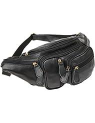 Polare Mens Natural Leather Fanny Pack Waist Bag Black Large