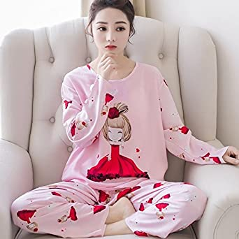 MH-RITA Autumn Winter Pyjamas Women Carton Cute Pijama Pattern Thicker Pajamas Set Cotton Pijamas