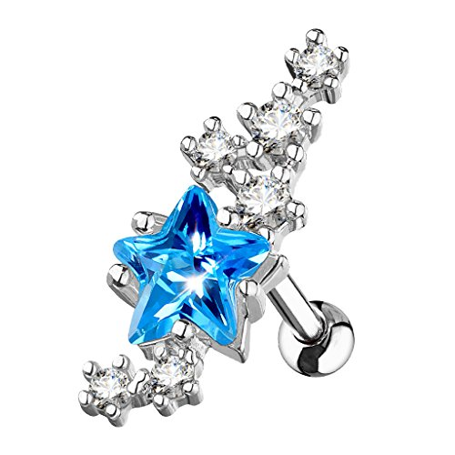 Inspiration Dezigns Cartilage/Tragus Barbell Stud Lined Cluster CZ Stars 316L Surgical Steel (Aqua Cubic Zirconia Star)