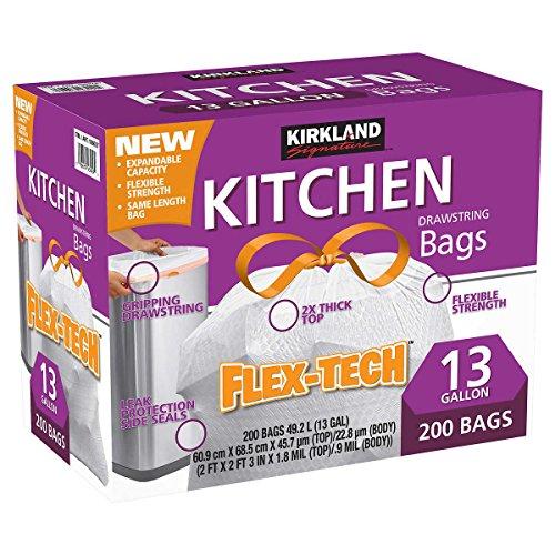 Kirkland Signature Drawstring Kitchen Trash Bags - 13 Gallon - 200 - Ct Bag 200