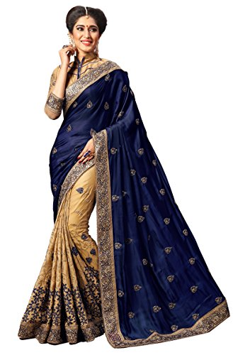 Nivah Fashion Women's Silk Embroidery Work With Diamond's Material Saree K724(Navy Blue) by Nivah Fashion