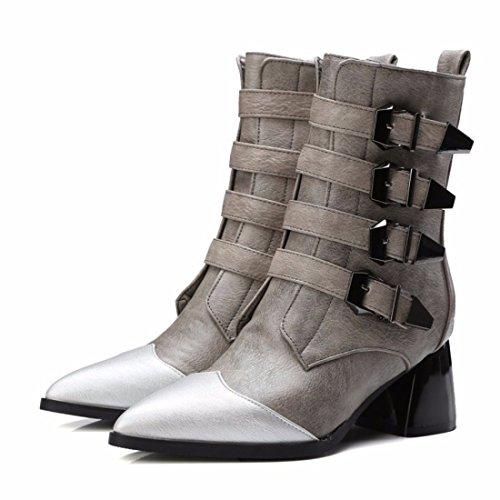 con de hebilla de RFF tamaño Zapatos punta mujer gris de de de gruesa motocicleta botas invierno Botas xUYxBq8