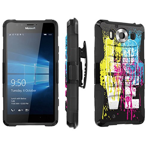 Photo - [SkinGuardz] Case for Microsoft Lumia 950 [Heavy Duty Ultra Armor Tough Case with Holster] - [Love Paint]
