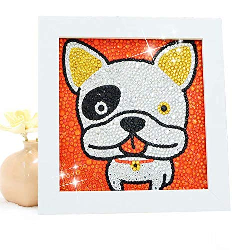 - Diamond Painting for Kids Full Drill Painting by Number Kits Arts Crafts Supply Set Rhinestone Mosaic Making for Home Wall Decor Gifts for Christmas Birthday Mothers Day -Include Wooden Frame-Bulldog