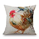 Funny Wholesale Popular Watercolor Rooster Art Colorful Chicken 9 Pillow Cover, 18 x