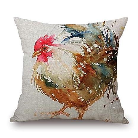 Amazon Funny Wholesale Popular Watercolor Rooster Art Colorful Unique Decorative Pillow Inserts Wholesale