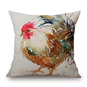 Funny Wholesale Popular Watercolor Rooster Art Colorful Chicken 9 Pillow Cover, 18 x 18 inches