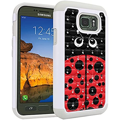 Samsung Galaxy S7 Active G891 Case, Fincibo (TM) Dual Layer Shock Proof Hybrid Hard Protector Cover anti-drop Silicone Star Studded Rhinestone Bling, Red Sales