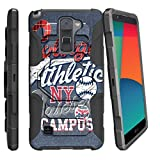 MINITURTLE Case Compatible w/ LG Stylo 2 |LG Stylus 2 Case |[Armor Reloaded] Rugged Impact Hard Rubber Durable Unique Creative + Belt Clip [L82VL L81VL K540 K520] Blue College Sports