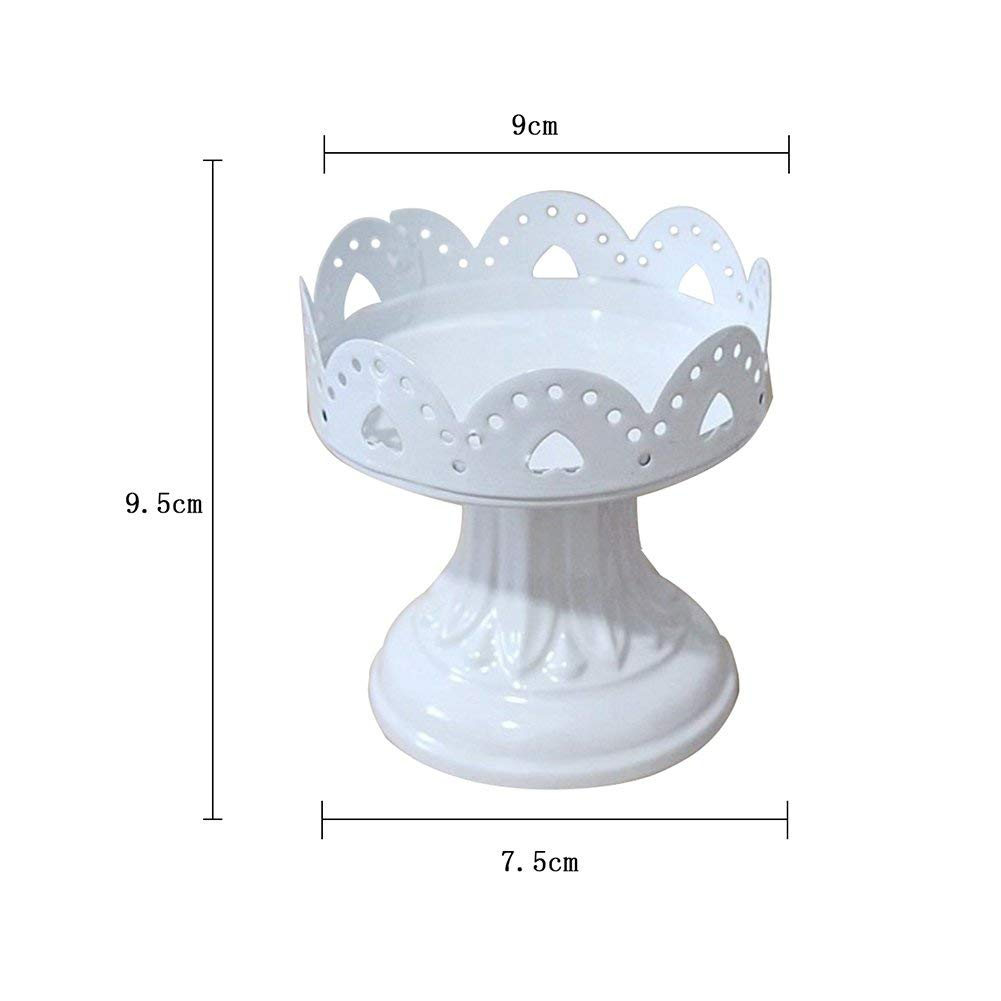 Cupcake Stand Scalloped Edge Metal Cake Stand Traditional Style Dessert Display Home Decor,1 Piece (7.599.5cm) Quner