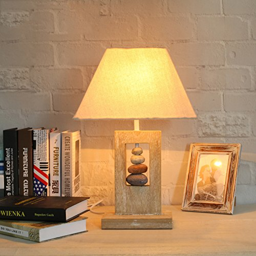 HOMEE American Creative Wooden Personality Lamp Coffee Shop Loft Retro Decorative Lamp Square Bedroom Lamps,Wood color,18 12cm (base) 47.5cm (height) by HOMEE