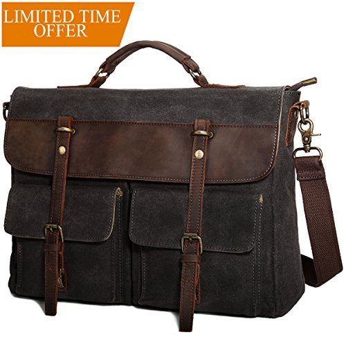 Large Messenger Bag for Men Tocode, Vintage Waxed Canvas Satchel Leather Briefcases Crossbody Shoulder Bags, 15.6 inch Computer Laptop Bags Water Resistant Travel Work Bag (Black)