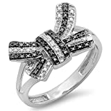 0.15 Carat (ctw) 10K White Gold Round Black & White Diamond Ladies Split Shank Cocktail Bow Ring (Size 9)