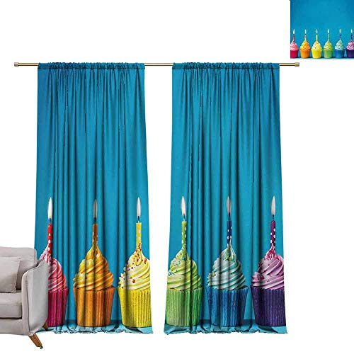 (DuckBaby Heat Insulation Curtain Birthday Cupcakes in Rainbow Colors with Candles Fun Homemade Party Food Sweet Delicious Simple Style W108 xL72 Multicolor)