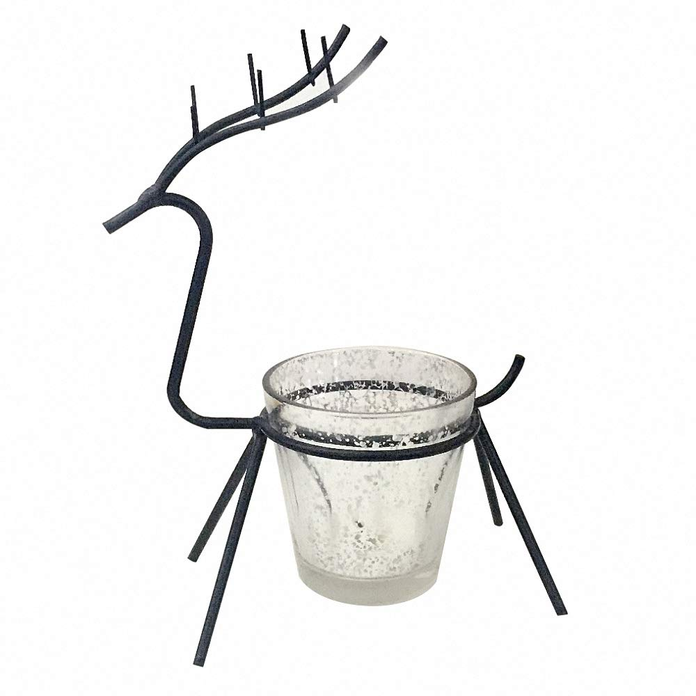 European Style Christmas Deer Metal Candle Holders Iron Vessel Stand Vintage Nordic Meditation Bowl Candle Holder Modern Decoration Votive Candlesticks for Christmas Wedding Party Home Decor Black by Vinee