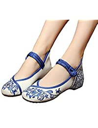 ZYZF Women Chinese Casual Embroidered Dancewear Oxfords Rubber Sole Mary Jane Dance Flat Shoes