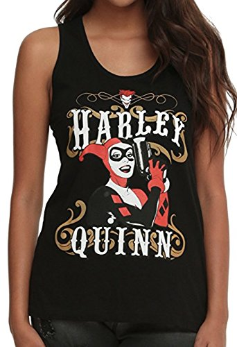 Harley Quinn DC Comics Outlaw Pose Juniors Racer Back Tank Top, Black (Medium (7/9))