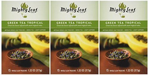 Mighty Leaf Tea Green Tea Tropical, 15 Count Whole Leaf Pouches 1.32 Ounce