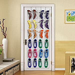 SUMCOO Over Door Shoe Organizer,Hanging Shoe Storage With 24 Clear Reinforced Vinyl pocket Pouches