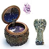 HANYI Vintage Mechanical Classical Collectible Translucidus Music Box with Twelve constellations, Plays Castle in the Sky - Aquarius