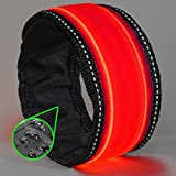 running board carpet - LED Slap Bracelet - Glow BAND by GlowHERO - Sweat Proof - Ultra Bright - High Visibility Safety Wristband - Replaceable Battery - Reflective Stitching - Fits Women, Men & Kids (Neon Red)