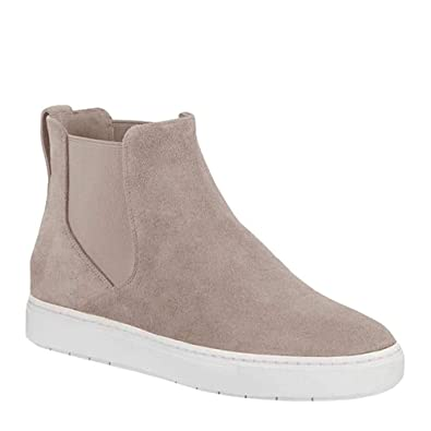 199b3f942b1 Womens Chelsea High Top Platform Sneakers Flatform Booties Slip on Flat  Ankle Boots Beige