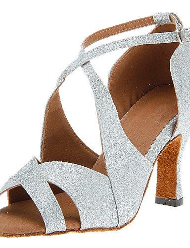 [DaMonicv Women's Sparkling Glitter Dance Shoes for Ballroom Latin/Jazz/Tango more colors,Black,US6.5-7/EU37/UK4.5-5/CN37] (Gold Glitter Jazz Shoes)