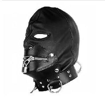 Amazon.com  SUMERSHA Black Pu Leather Bondage Mask Hood  Health ...