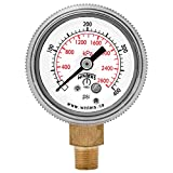 Winters P9S 90 Series Steel Dual Scale Pressure Gauge with Removable Lens, 0-400 psi/kpa, 1-1/2