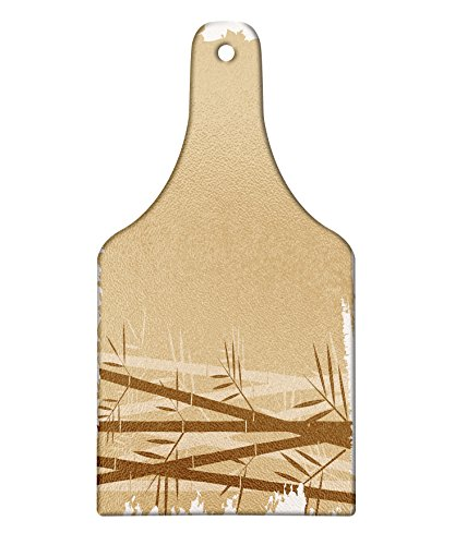 Lunarable Camel Color Cutting Board, Exotic Bamboo Plant with Grungy Look Zen Spa Feng Shui Theme Asian Nature, Decorative Tempered Glass Cutting and Serving Board, Wine Bottle Shape, Camel Brown
