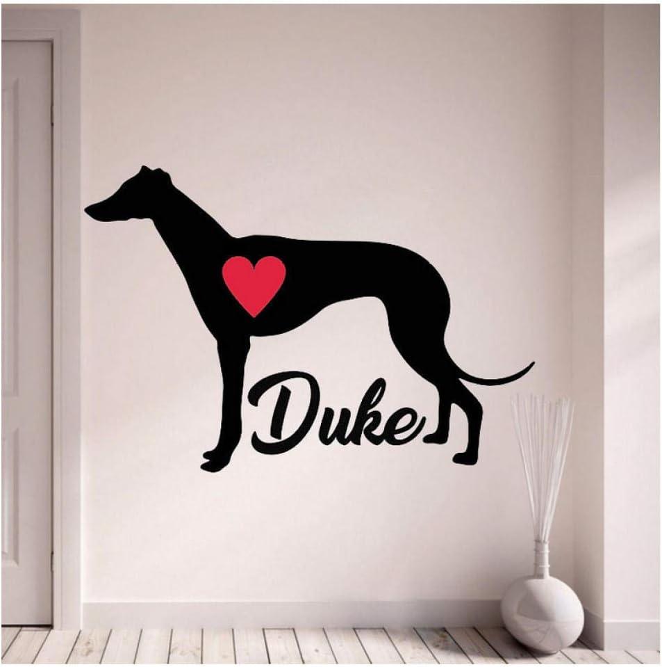 Restaurante Etiqueta de la pared del galgo con las pegatinas de pared de su perro Decoración para el hogar de perros mascotas con sala de estar de corazón rojo