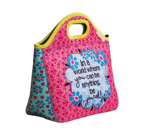 NOI fashion Lunch Bag BAG 161 Kinder Kindergartentasche Blümchen rosa/ mint 26x24x9 cm (LxBxT)
