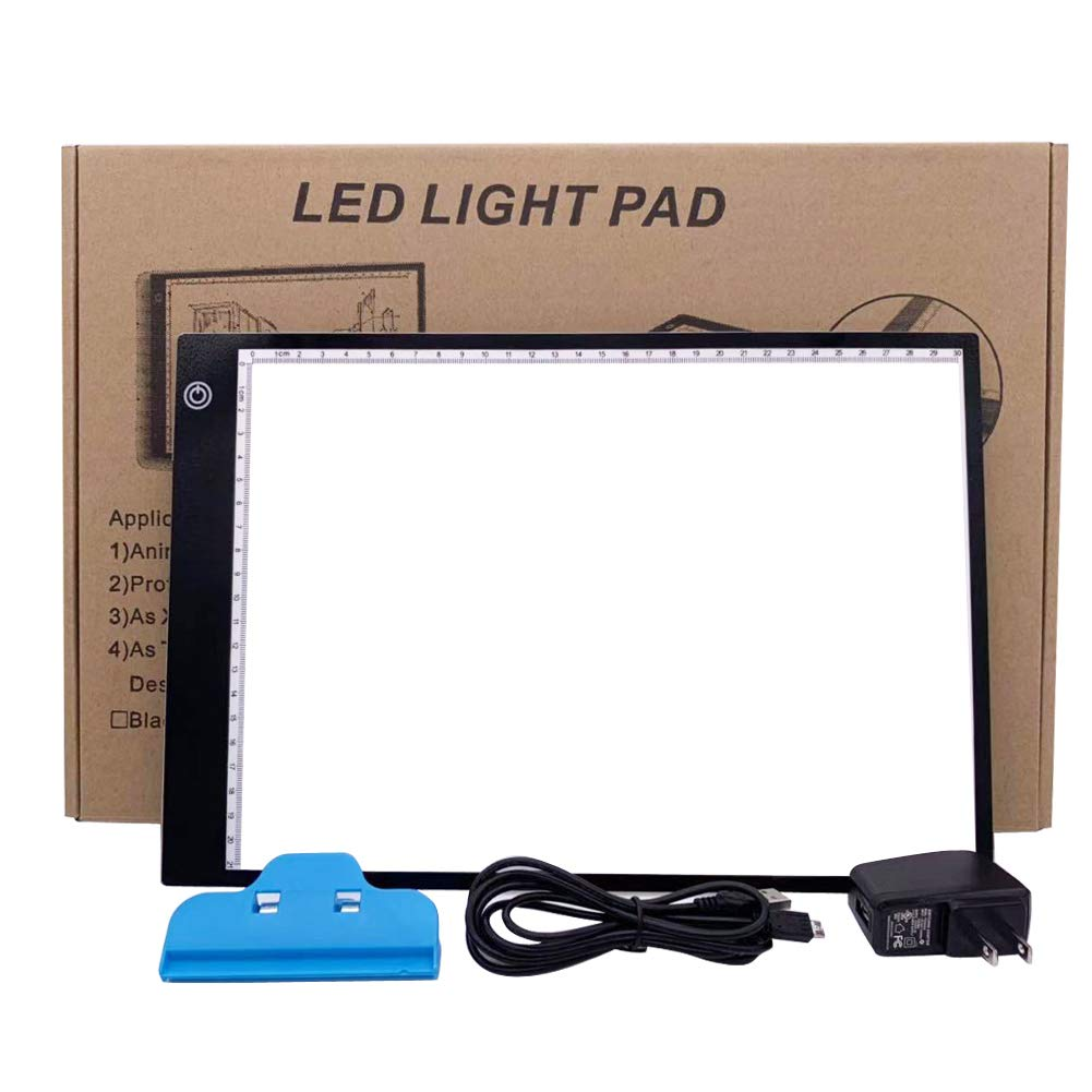 LED Light Box for tracing Light pad Ultra Thin Portable USB Power Cable Dimmable Brightness for Artists Drawing Sketching Animation Stencilling X-rayviewing SUNNY