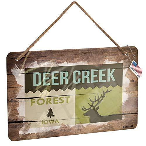 Creek Corner Deer (NEONBLOND Metal Sign National US Forest Deer Creek Forest Christmas Wood Print)
