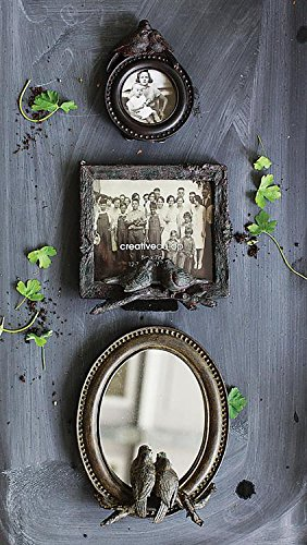 Resin Framed Oval Mirror W/ Birds On Branch Distressed Aged Look Country Home Wall D