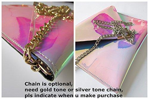 Zarapack Women's Rainbow Hologram Pu Leather Clutch Handbag Shoulder Bag (Silver with Chain)