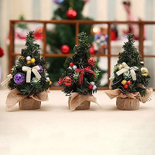 3 Piezas Peque/ño 20 cm de Alto Tablero de Mesa Pino de Navidad Artificial para Decoraci/ón Navide/ña Favor de Fiesta AOFOX Mini /árbol de Navidad con Adornos Oro-Plata-Rojo