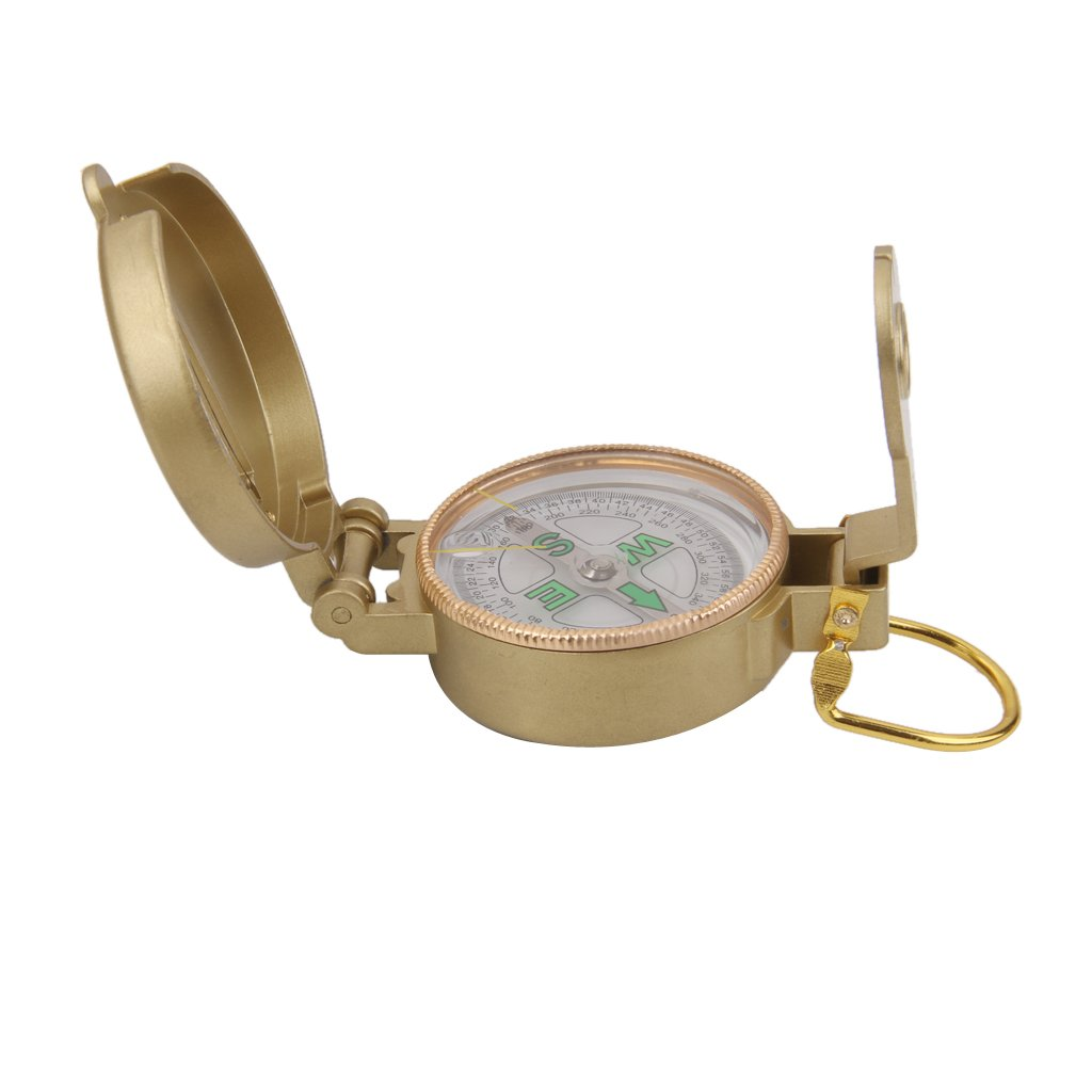 【ノーブランド品】アウトドア 登山用 保護蓋付 北指 フローティング コンパス 方位磁石 (ゴールド) B019Q0S20O