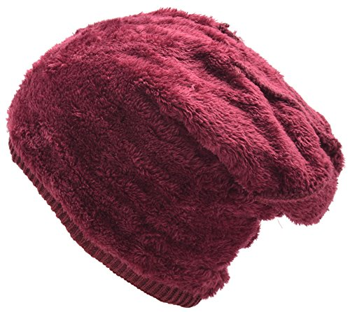 Mens Winter Warm Wool Fleece Lined Knit Beanie Hat Baggy Oversize Slouchy Stocking Skull Cap Ski Hat For Men, 6 Color, Stylish and Soft Beanie (Wine Red) by EASTER BARTHE (Image #3)