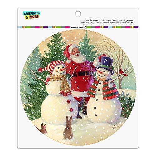 Graphics and More Christmas Holiday Santa Snowman Friends Automotive Car Refrigerator Locker Vinyl Circle Magnet
